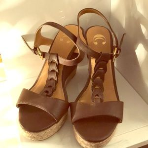 Brown Wedges w/ Decorative front- Charming Charlie